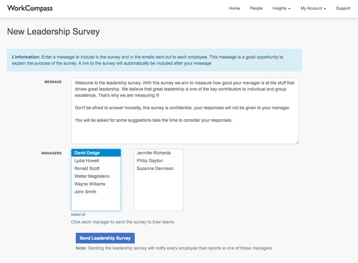 Leadership Survey - Decide who needs to participate in a survey and when.